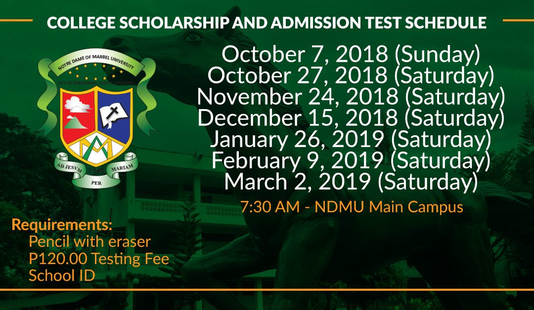 College Scholarship and Admission Test Schedule