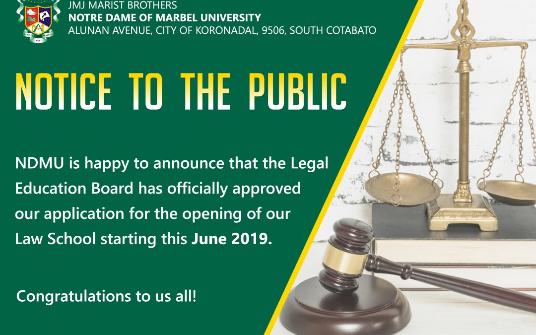 ANNOUNCEMENT: NDMU Law School opens in June 2019