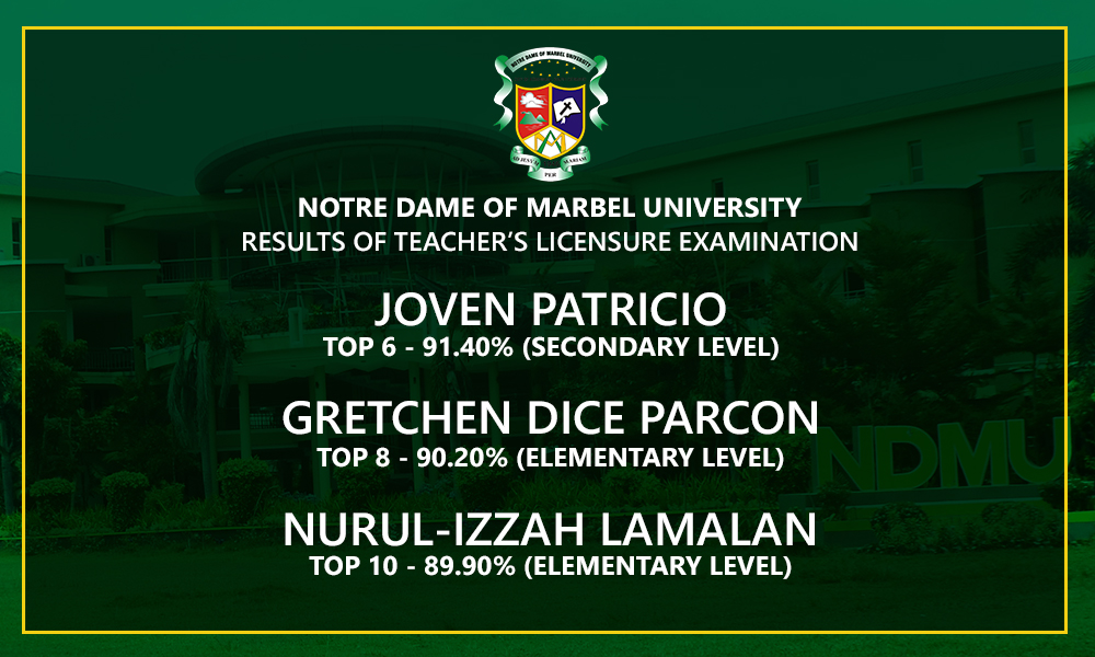 NDMU produces 3 LET topnotchers