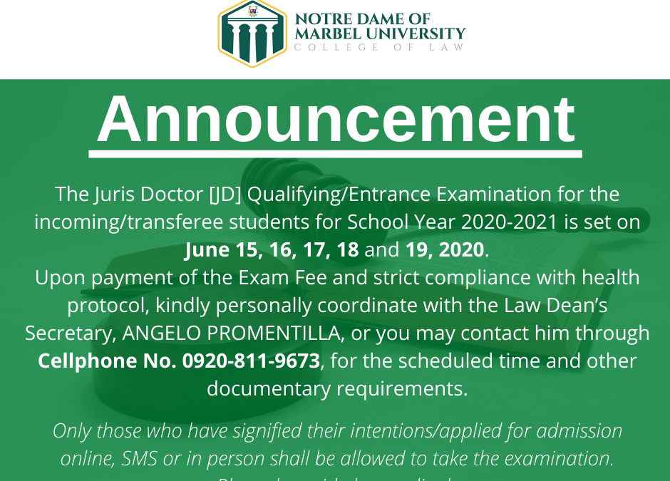 NDMU College of Law Juris Doctor Entrance Examination