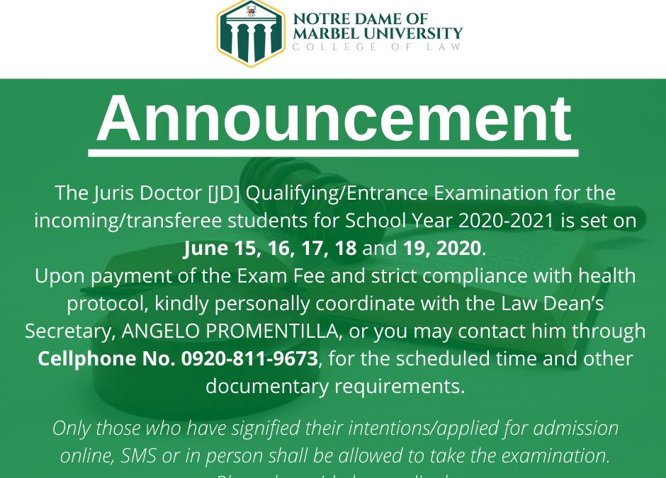 NDMU College of Law Juris Doctor Entrance Examination
