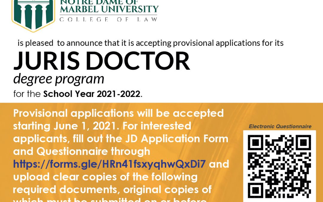 NDMU College of Law accepts application for SY 2021-2022